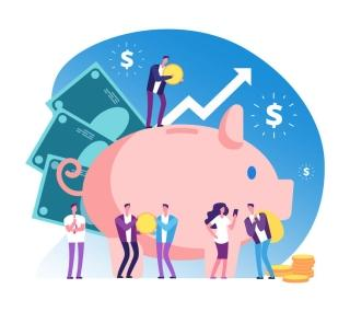 People standing in front of piggy bank with arrows up for financial growth