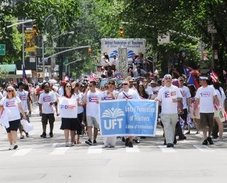 UFT members came out in force to demonstrate their Puerto Rican pride.