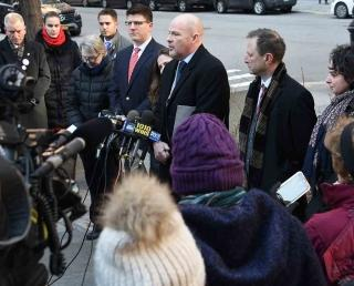 UFT President Michael Mulgrew speaks at a news conference outside Stuyvesant HS