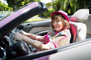 Retired teacher Vera Fried in her pink Mustang in Delray Beach, Fla. More than 3