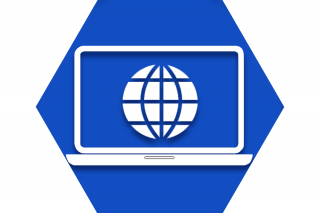 Hexagon with blue background and symbol of computer to represent UFT Computer and Technology Committee