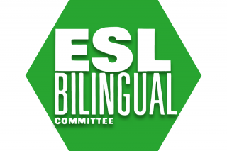 Hexagon with green background and text ESL/Bilingual Committee