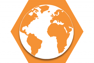 Hexagon with orange background and symbol of world
