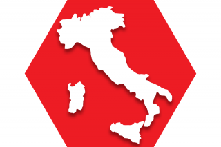 Hexagon with red background and map of Italy