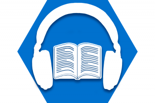 Hexagon with blue background and symbol of headphones over book