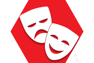 Red hexagon with symbol of drama masks representing UFT Players Committee