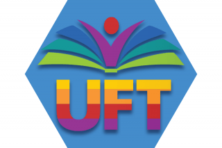Blue hexagon with UFT symbol in rainbow colors representing UFT Pride Committee
