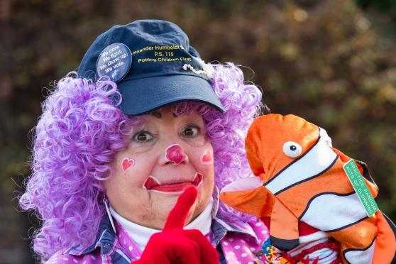 UFT retiree Rosemary DelValle dresses as Merry Rose the Clown