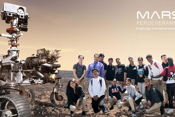 "Students from Kingsbridge International HS ""arrive"" on Mars in this photo composite with NASA's Perseverance rover."