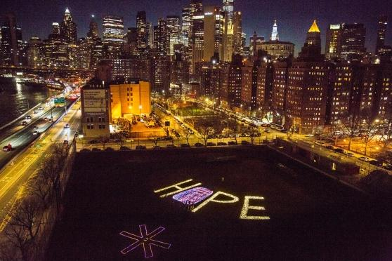 'Hope' illuminated with NYC in the background
