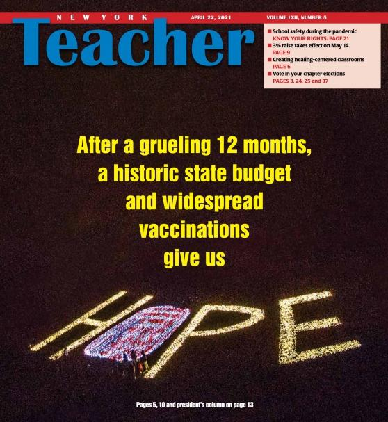 NYT New York Teacher Vol. LXII Number 2 - Cover - Hope