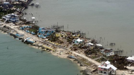 Beach and houses under water after Hurricane Dorian