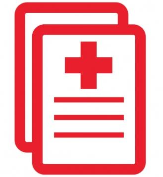 Red Hospital Symbol on Paper