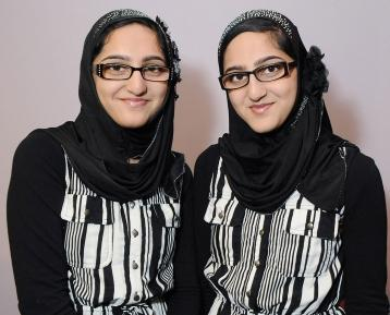 New Utrecht HS twins Rabia (left) and Rimsha Ansar not only look alike, they sha