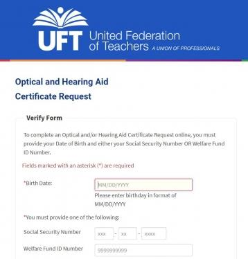 Screenshot of Optical and Hearing Request Aid Certificate Request form