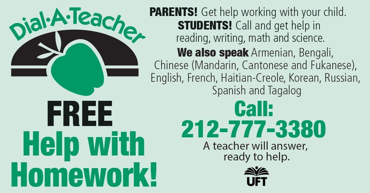 Homework help available through Dial-A-Teacher